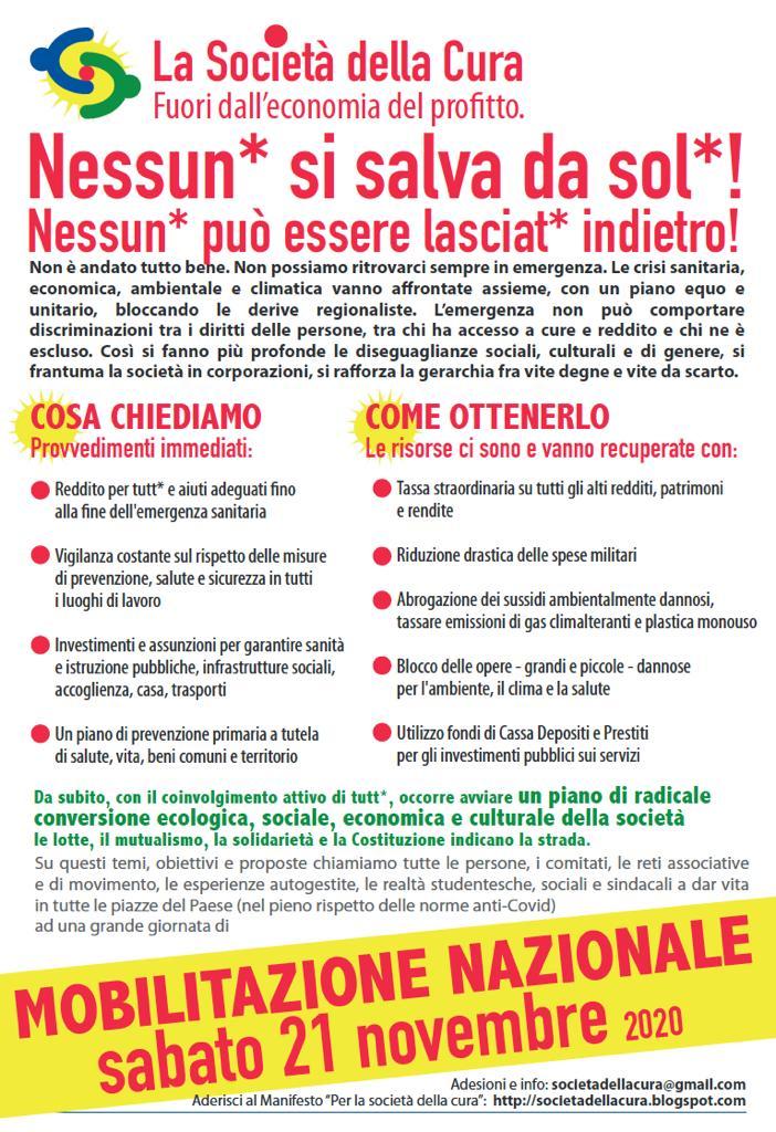 L'APPELLO: sabato 21 novembre mobilitazione nazionale